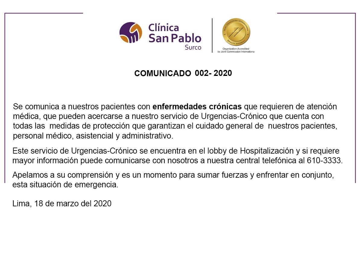 Comunicado 002 – 2020